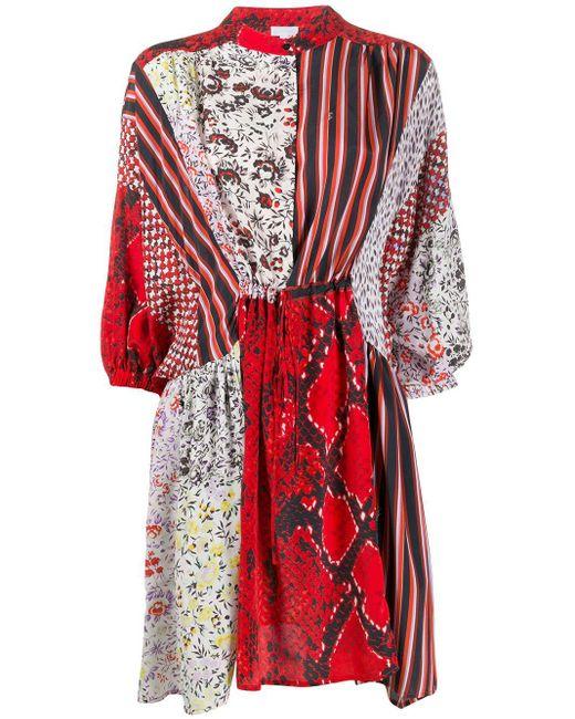 Lala Berlin パッチワーク ドレス Red