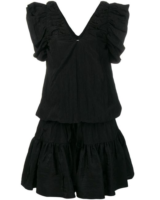 Victoria, Victoria Beckham Vネック ラッフル ドレス Black