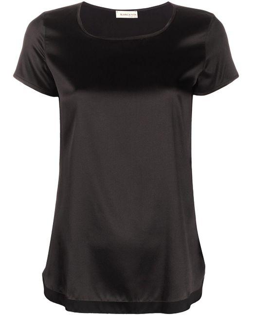 Blanca Vita Camiseta de seda Tania de mujer de color negro HBV5I