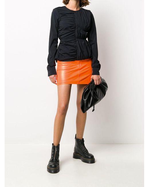 Manokhi ハイウエスト レザースカート Orange