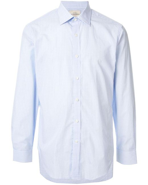 Рубашка В Клетку Гингем Kent & Curwen для него, цвет: Blue