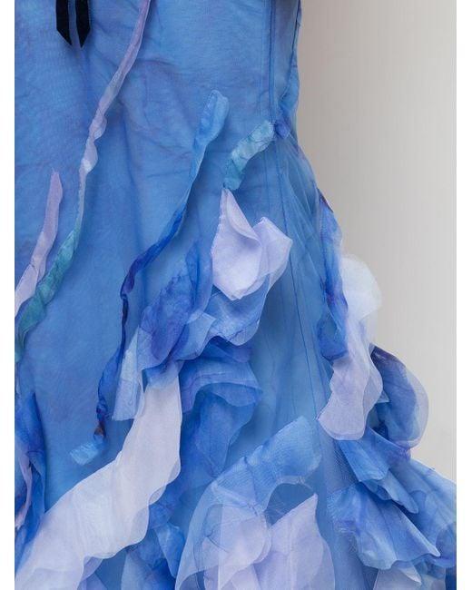 Marchesa notte プリント ドレス Blue