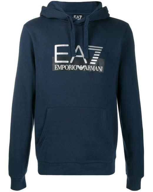メンズ EA7 ロゴ パーカー Blue