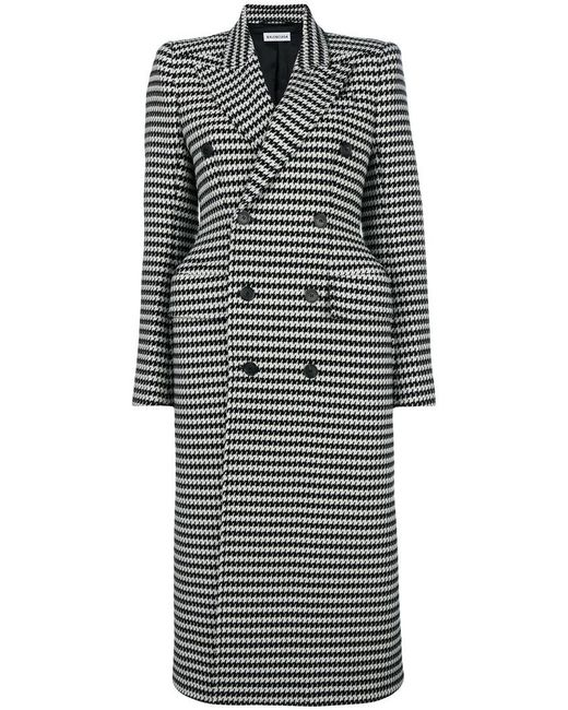 Balenciaga - Black Hourglass Double-breasted Check Coat - Lyst
