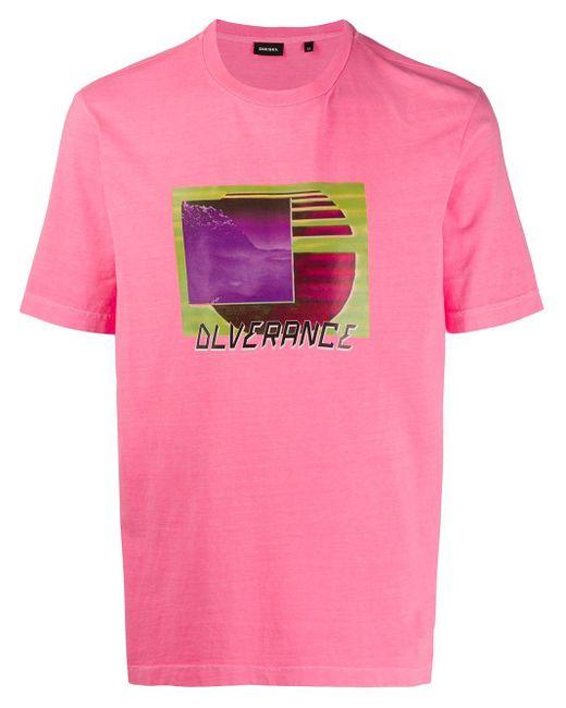 メンズ DIESEL プリント Tシャツ Pink