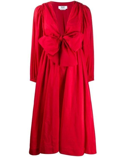 MSGM リボン オーバーサイズドレス Red