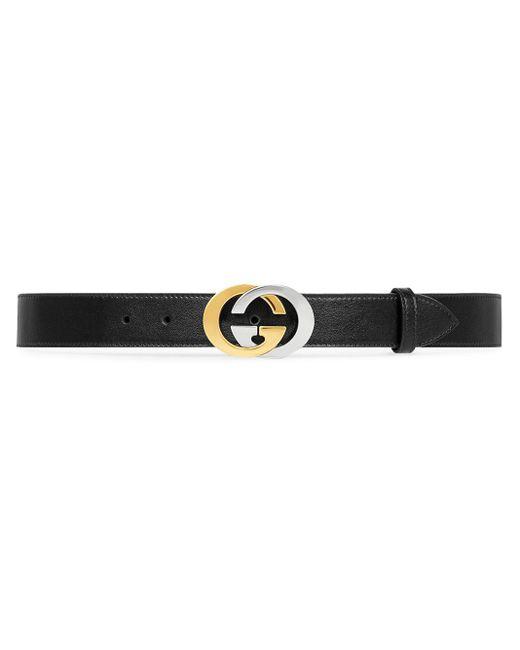 メンズ Gucci 【公式】 (グッチ)インターロッキングg バックル付き ベルトブラック レザーブラック Black