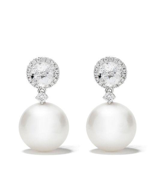Kiki McDonough Pearls ダイヤモンド&パール ピアス 18kホワイトゴールド White