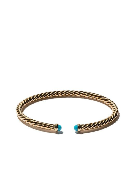 David Yurman - Metallic 18kt Yellow Gold Cable Spira Turquoise Cuff Bracelet - Lyst