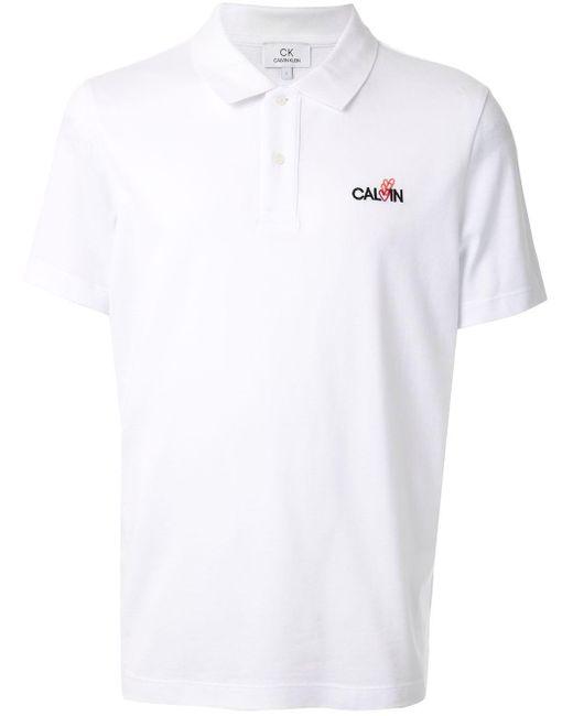 メンズ Calvin Klein ロゴ ポロシャツ White
