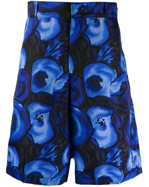 メンズ Prada フローラル ショートパンツ Blue