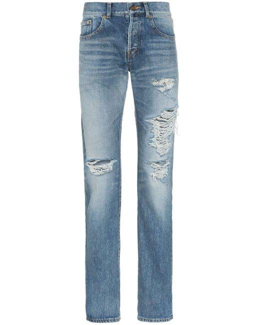 Saint Laurent Blue Distressed Slim-fit Jeans for men