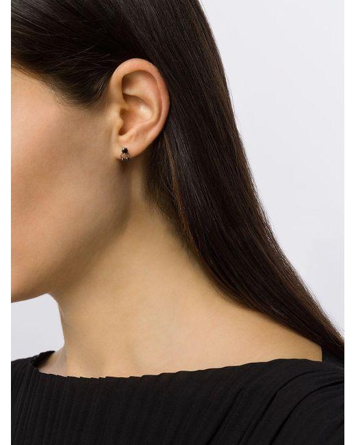 Farfetch Exclusive 18kt White Gold Two In One Pierced Black Diamond Stud Delfina Delettrez, цвет: Metallic