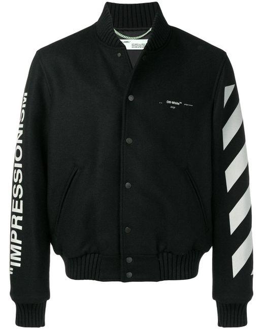 Off-White c/o Virgil Abloh Diagonal Stripe Varsity Jacket in het Black voor heren