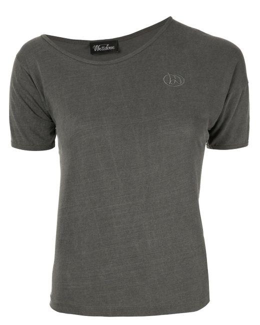 we11done Gray Asymmetric Neck T-shirt