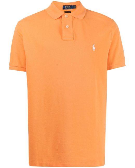 Polo Ralph Lauren Orange Piqué Embroidered Polo Shirt for men