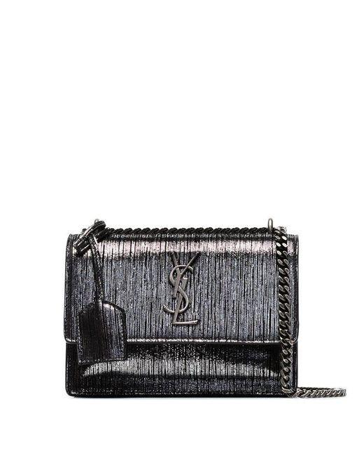 19c7578346e2 Saint Laurent - Metallic Silver Sunset Small Lamé Leather Shoulder Bag -  Lyst ...