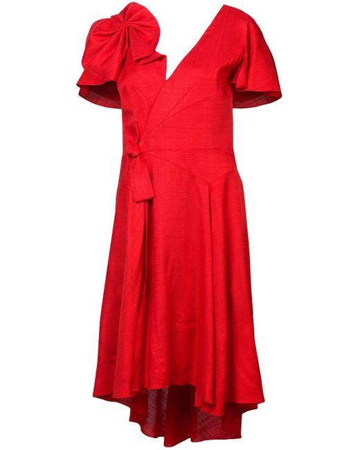 Delpozo リボン ドレス Red
