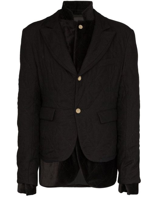 Haider Ackermann Black Double-layer Quilted Blazer for men
