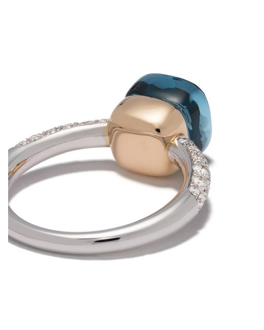 Pomellato Nudo トパーズ&ダイヤモンド リング 18kホワイトゴールド&ローズゴールド Metallic
