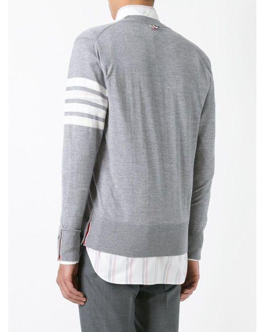Thom Browne Gray Contrast Cardigan for men