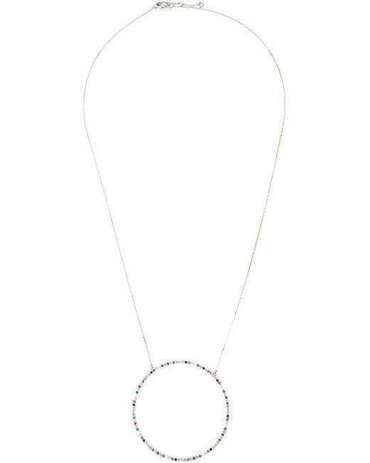 Eshvi - Metallic Multi Colour Circle Pendant - Lyst