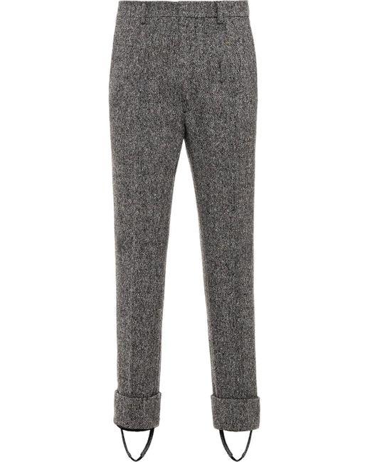 メンズ Prada ツイード スティラップパンツ Gray