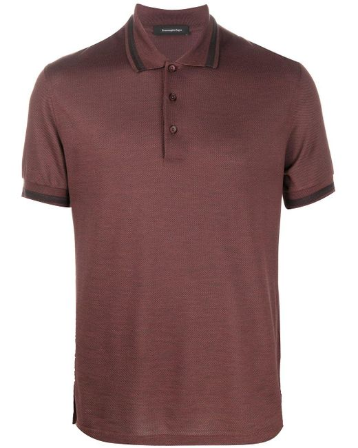 メンズ Ermenegildo Zegna ストライプカラー ポロシャツ Brown