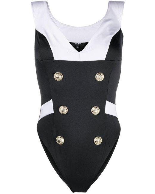 Balmain Black Double-buttoned Sailor Swimsuit