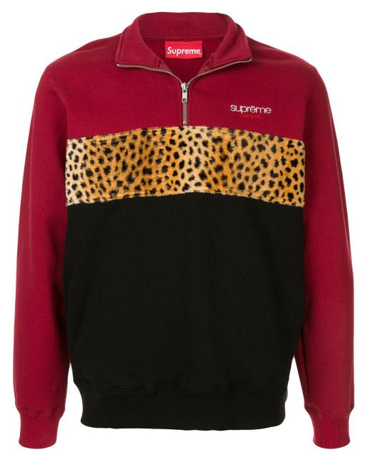 Sweat colour block à col zippé Supreme pour homme en coloris Red