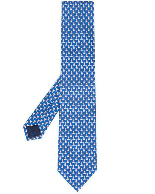 Галстук С Принтом Ferragamo для него, цвет: Blue