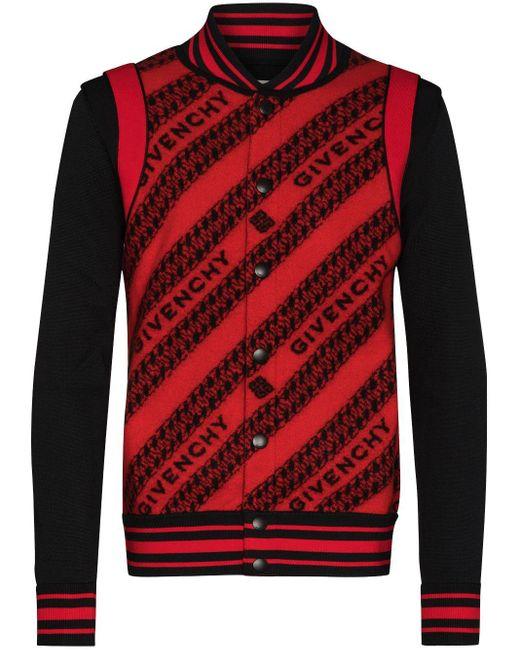 メンズ Givenchy ロゴ ボンバージャケット Red