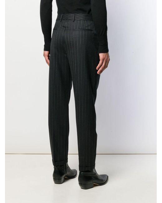 Полосатые Брюки Строгого Кроя Saint Laurent для него, цвет: Black