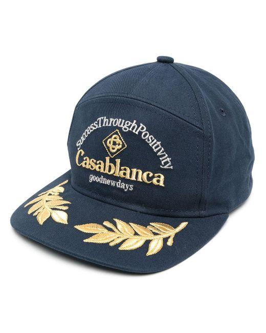 メンズ CASABLANCA エンブロイダリー キャップ Blue