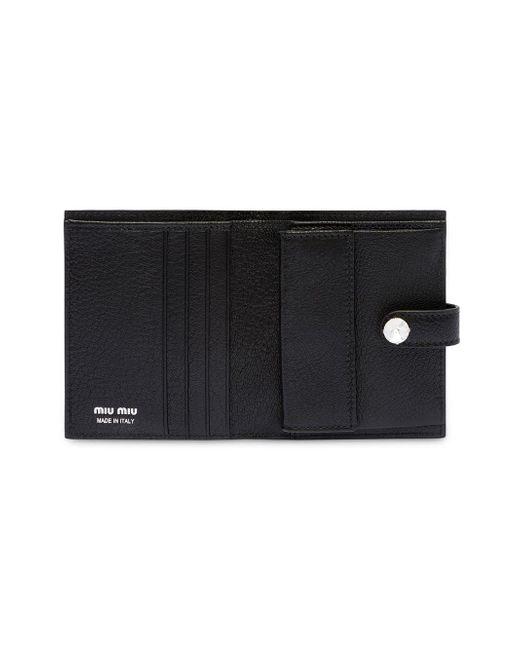 3dc567389b65 ... Miu Miu - Black Madras Leather Wallet - Lyst
