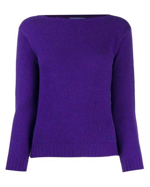 Prada ロゴ プルオーバー Purple
