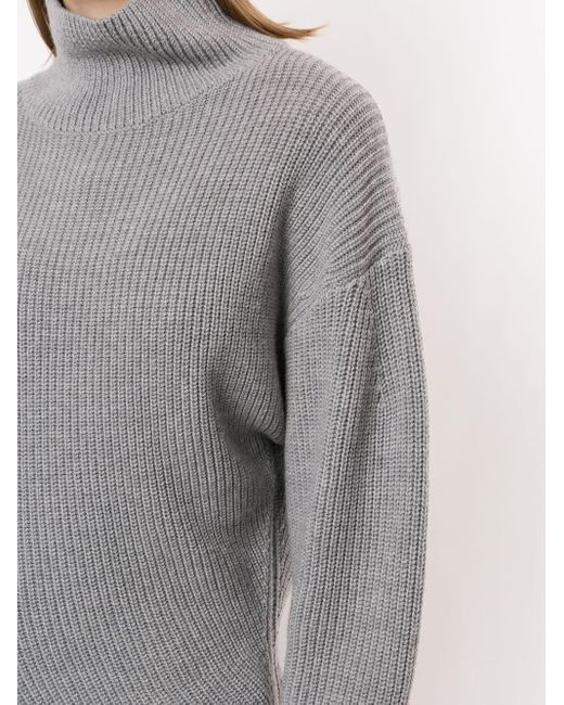 Proenza Schouler Gray Asymmetrischer Rollkragenpullover
