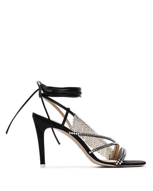 Attico - Black Baby Crystal Trim Sandals - Lyst