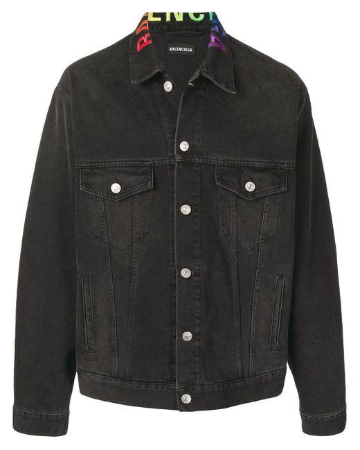 メンズ Balenciaga レインボーロゴ刺繍 デニムジャケット Black