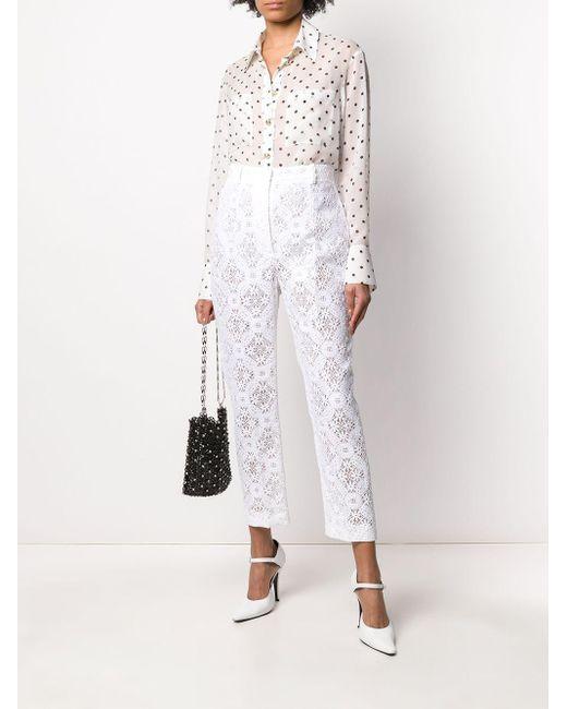 Зауженные Брюки Endangered Из Цветочного Кружева Alexander McQueen, цвет: White