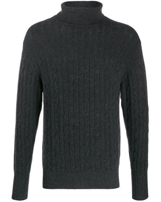 Pull en maille torsadée à col roulé N.Peal Cashmere pour homme en coloris Black