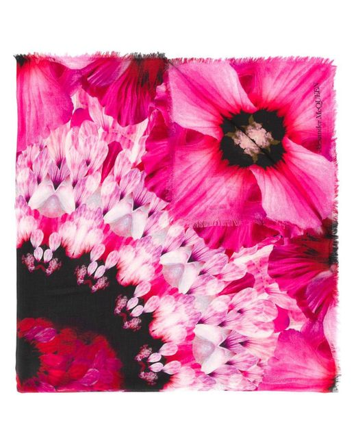 Alexander McQueen フローラル スカーフ Pink