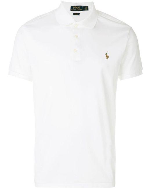 メンズ Polo Ralph Lauren エンブロイダリーロゴ ポロシャツ White