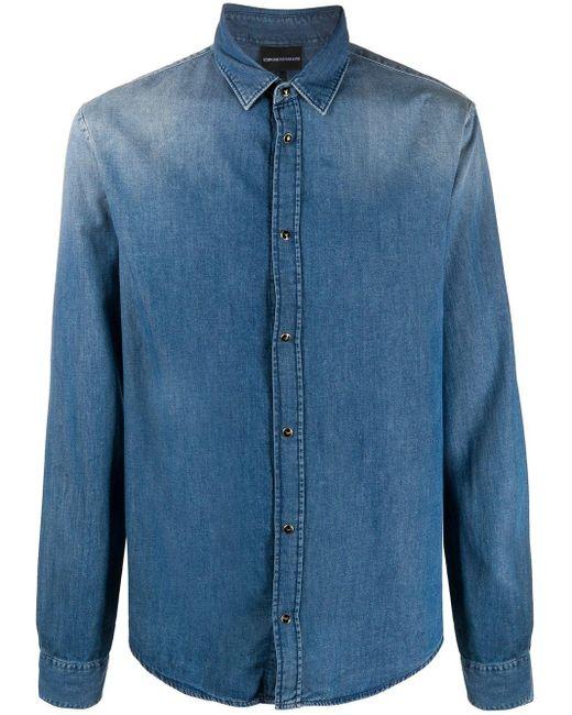 メンズ Emporio Armani ストレート デニムシャツ Blue