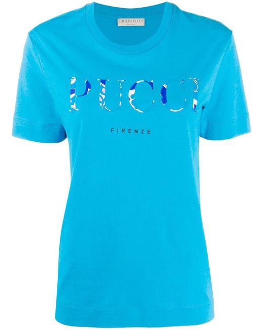 Emilio Pucci ロゴ Tシャツ Blue