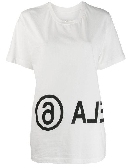 T-shirt à logo imprimé MM6 by Maison Martin Margiela en coloris White