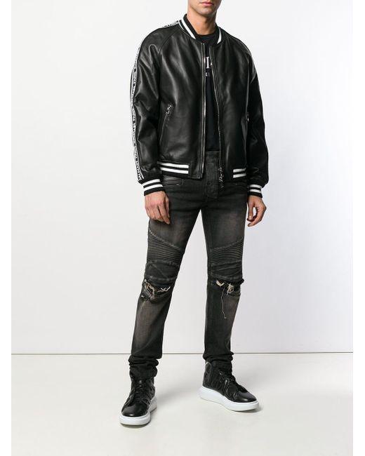 メンズ Balmain サイドパネル ボンバージャケット Black
