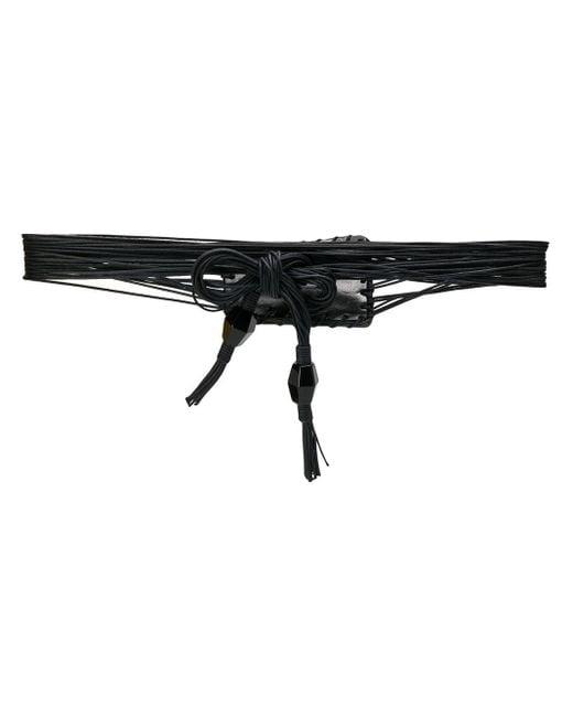 Giorgio Armani Pre-Owned 2000s レザー ロープ ベルト Black