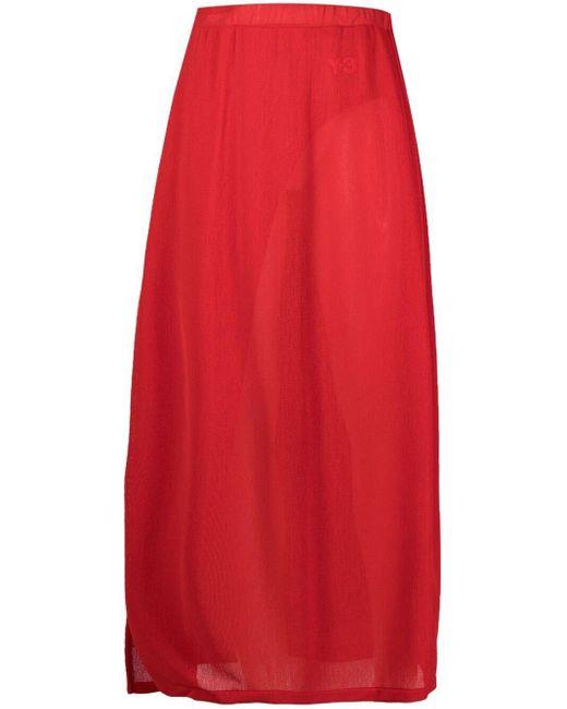 Y-3 Red High-waist Slit Skirts