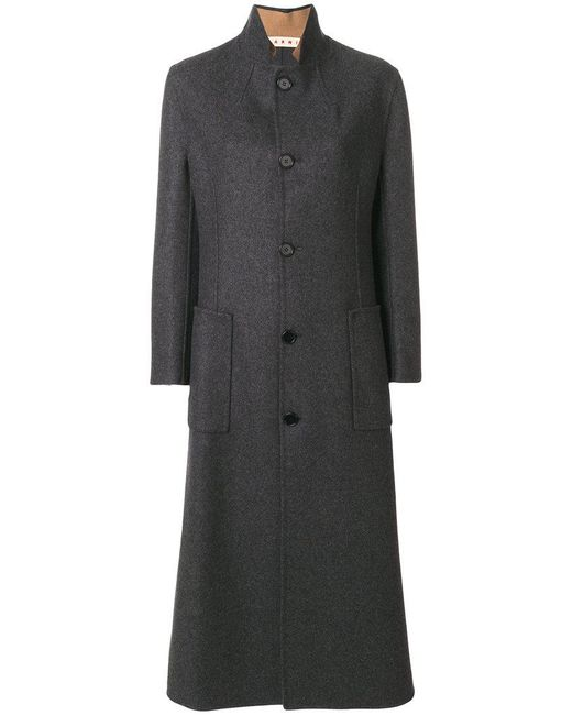 Marni - Gray Single Breasted Long Coat - Lyst